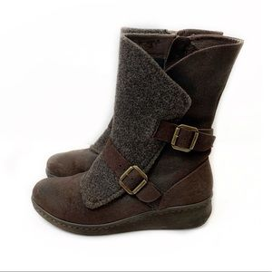 Born 8 Brown Moto Boot Kore Mid Leather Buckle